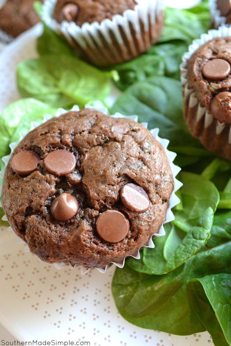 Chocolate Chip Spinach Muffins - a seriously delicious way to sneak in veggies into your favorite morning muffin..without even knowing!