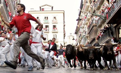 Bull at the festival of San Fermin, July 6-15 - Pamplona, Spain