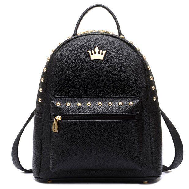 Leisure Lady Rucksack Punk Crown Rivet PU School Backpack - lilyby