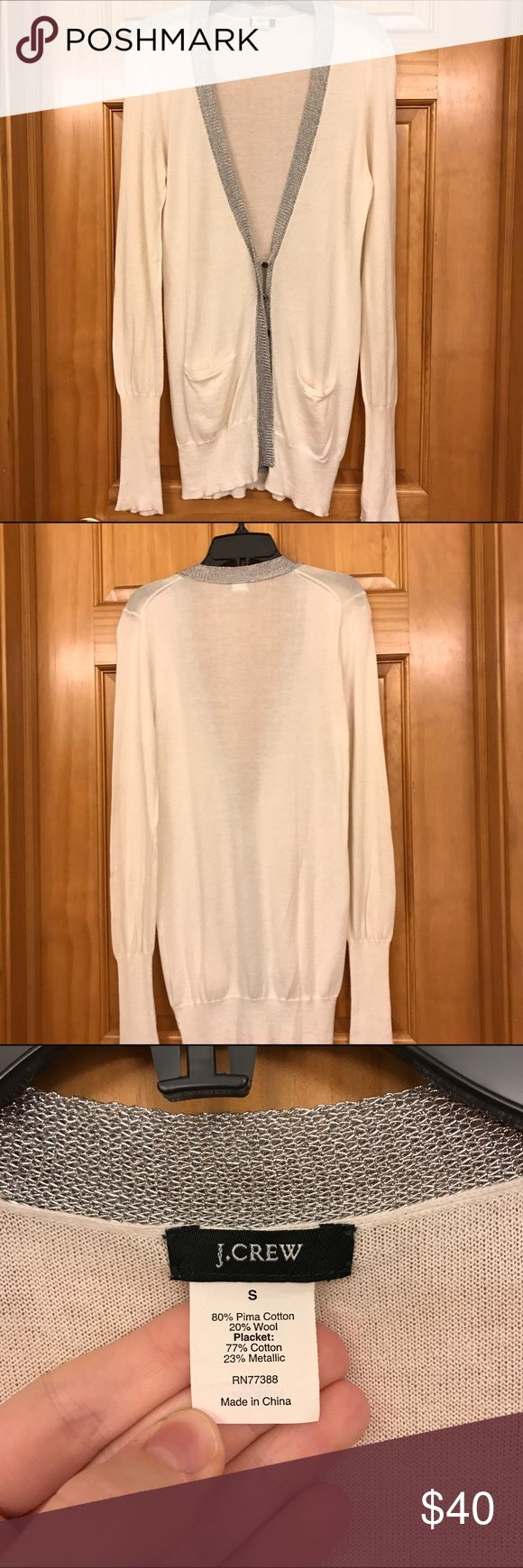J. Crew Cream & Silver Cardigan Beautiful cream cardigan with metallic silver trim. Excellent condition- no pilling, missing buttons, etc. J. Crew Sweaters Cardigans