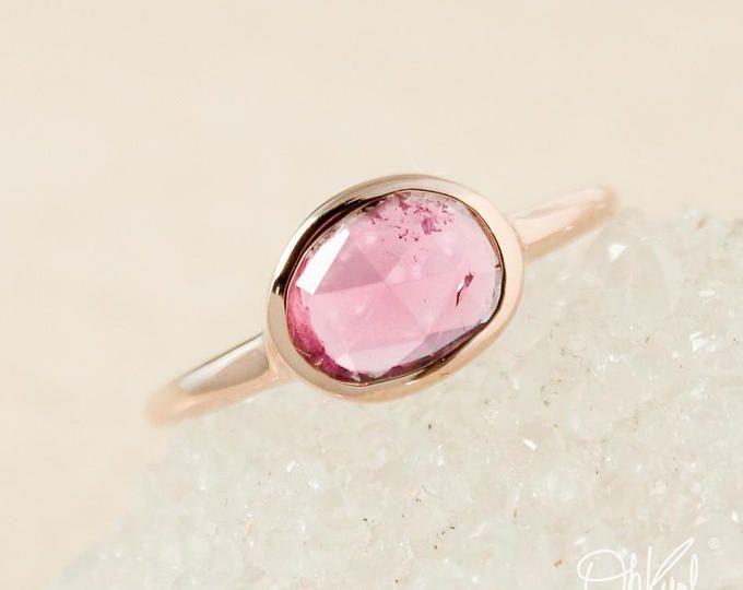 Rose Gold Free Form Pink Tourmaline Ring - Rose Cut Pink Tourmaline - Bezel Set