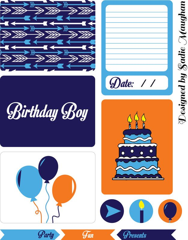 Free Printable Journal Cards: Birthday Boy theme (by Sadie Maughan)