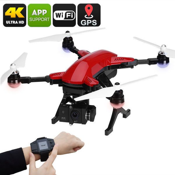 SIMTOO UAV Drone Folded Dragonfly Pro Follow Me GPS 4K 16MP Camera RC Watch  World first foldable carbon fiber arms allow UAV Drone Folded Dragonfly Pro to fit all parts in one small hardshell case. Assembly require just a few minutes.  No pilo...