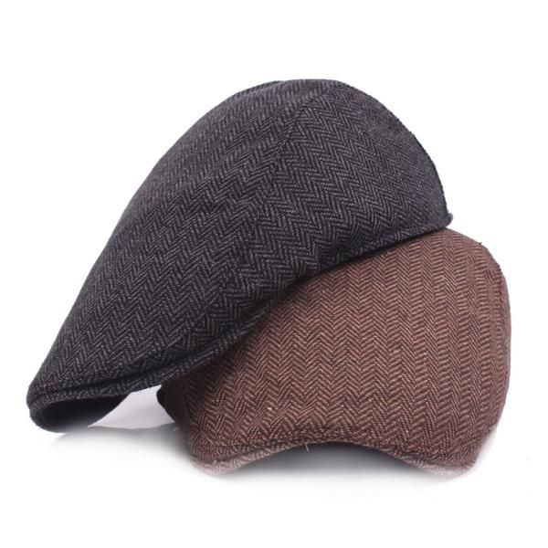 b1181fd7f HT1100 New Fashion Wool Felt Mens Berets Winter Warm Striped Flat ...