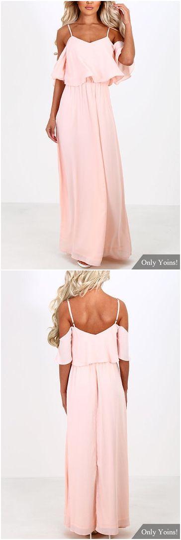Pink Off-the-shoulder Frill Top Chiffon Maxi Dress US$21.95