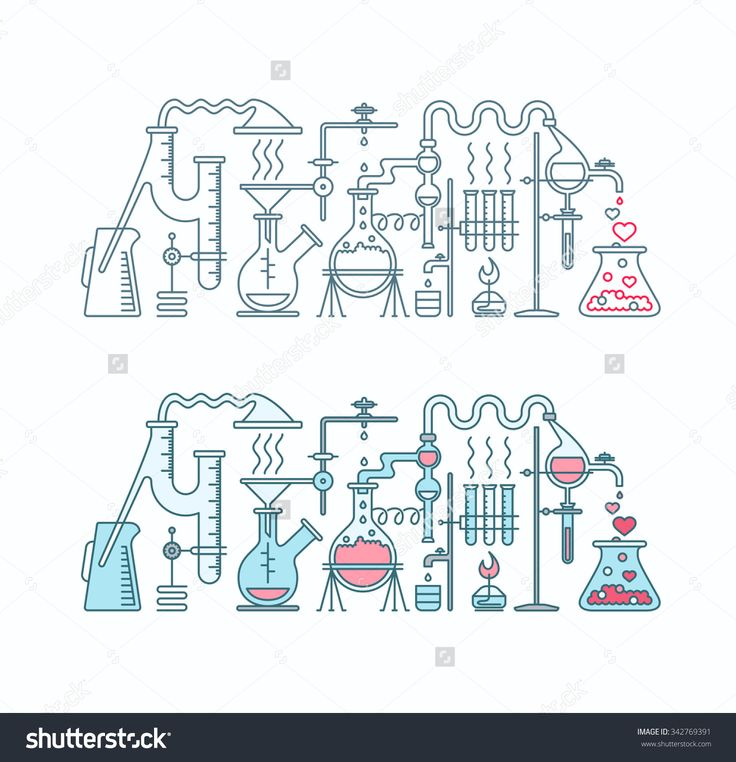 Production of love elixir in laboratory illustration. Chemistry of love two isolated flat and line objects.