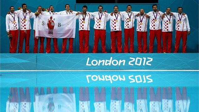 Gold medallists Croatia pose on the podium during the Victory ceremony following the men's Water Polo gold medal match between Croatia and Italy on Day 16 of the London 2012 Olympic Games at the Water Polo Arena