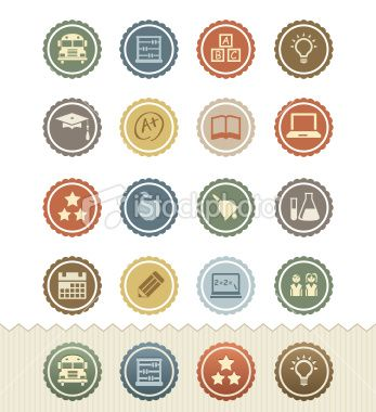 Vintage Badge Icons: Education Royalty Free Stock Vector Art Illustration