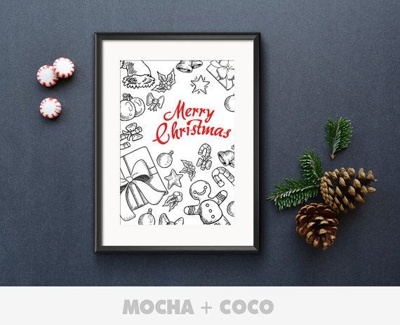 Sketch Ornaments Poster, New Year Eve Wall Art, Christmas Wall Decor, Kids Room, Printable Mocha + Coco, INSTANT FILE DOWNLOAD