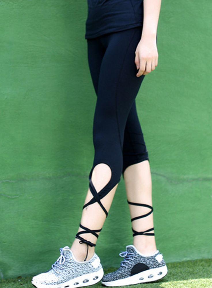 Women's Solid Color Skinny Bandage Cropped Leggings