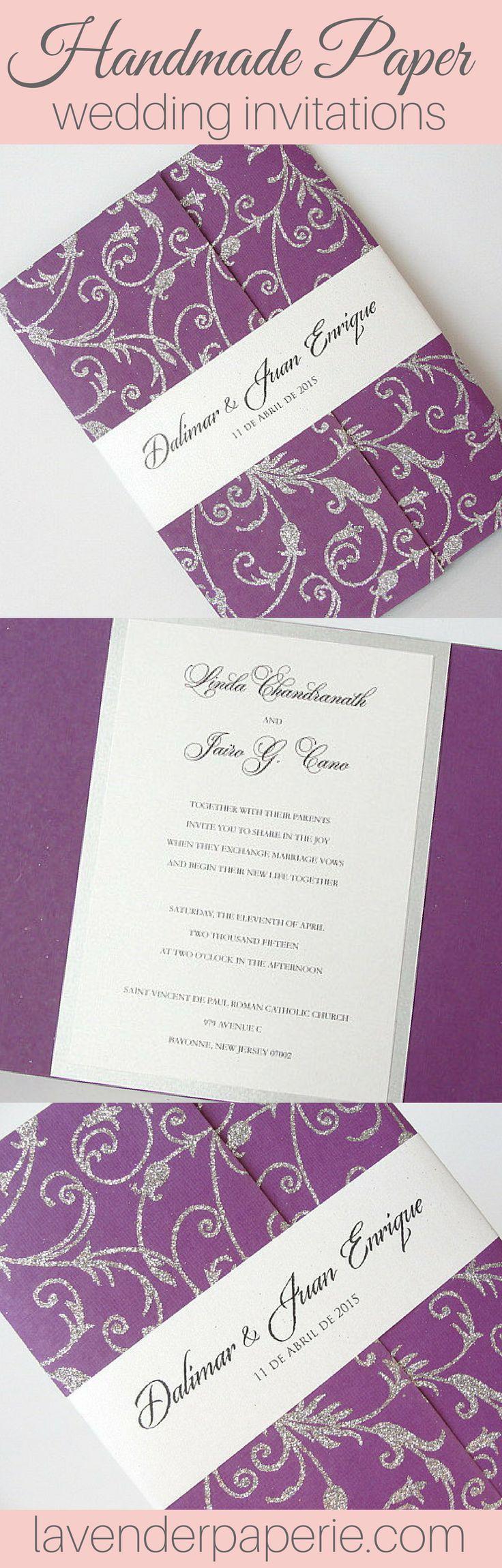 purple white silver wedding invitations%0A Handmade Paper Wedding Invitations by Lavender Paperie  weddinginvitations   weddinginvites  elegantweddinginvites  classicweddinginvitations