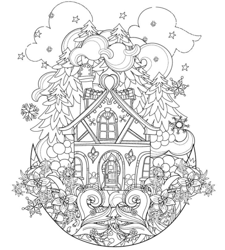 Vector Cute Christmas Fairy Tale Town Doodle On MoonHand Drawn Line IllustrationSketch For Postcard Or Print Coloring Anti Stress Adult Book