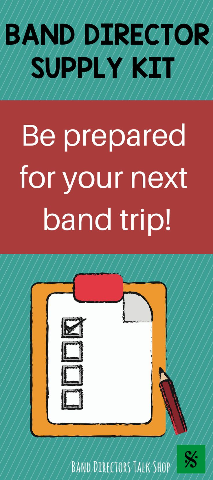 Band directors, click here for a great list of things to pack for your next band trip or out of town performance with your ensemble. http://banddirectorstalkshop.com/2017/05/03/supply-kit-for-band-trips/