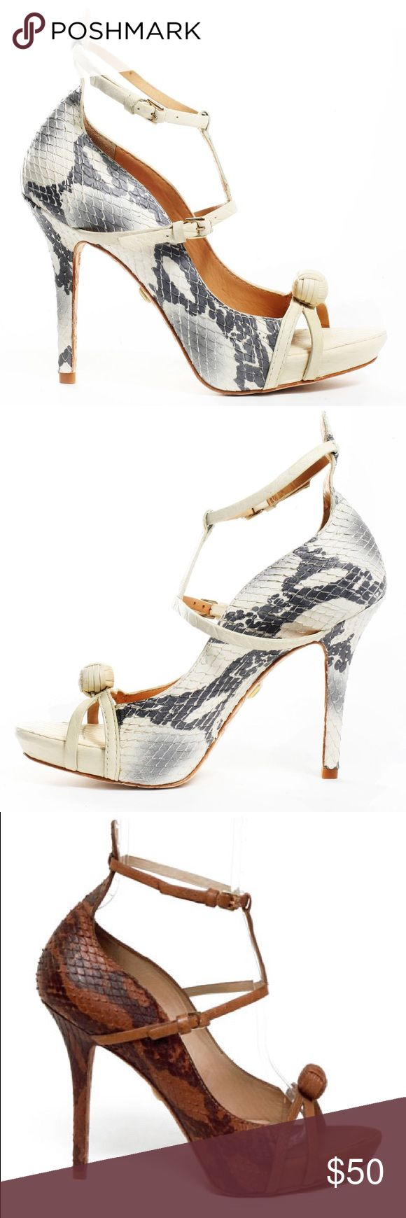 L.A.M.B. By Gwen Stefani Snakeskin-Embossed Heels LAMB By Gwen Stefani Heels in Brown. Size 6. Light wear on the bottom (soles). Great condition, overall. Hardly worn. Easy to walk in, IMO. Neutral & Edgy. LAMB Shoes Heels