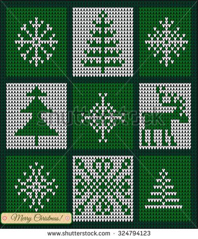 Set of Christmas star and snowflake, Merry Christmas Scandinavian style knitted card, Fair Pattern sweater design on the wool knitted texture. Knitting Ornament - stock vector
