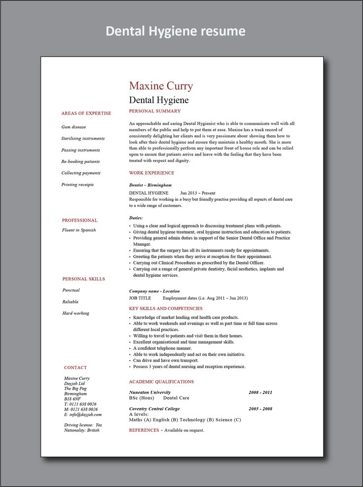 dental hygiene resume example  cv  hygienist  healthcare