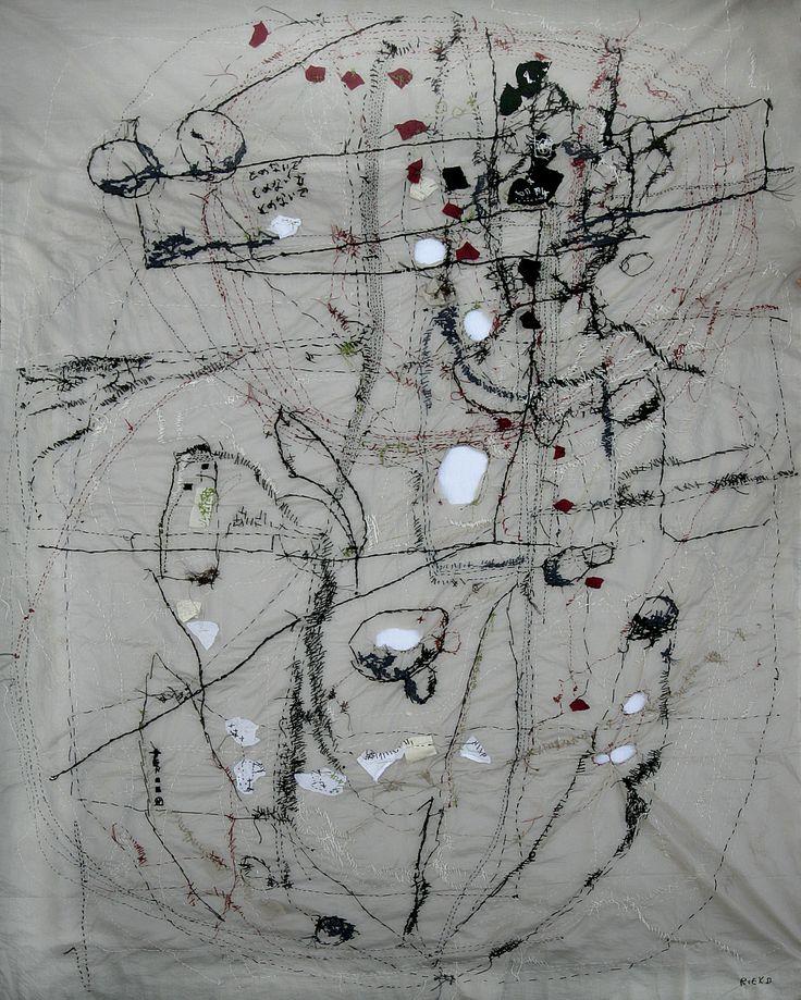 Rieko KOGA - Work Don't stop me [2010] 206 x 145 cm Hand embroidery on cotton