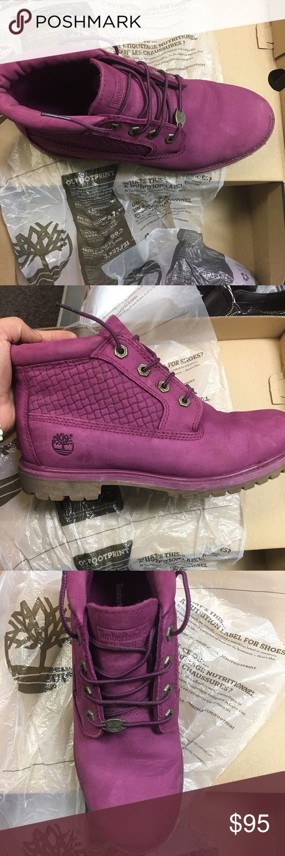 Women Timberland Boots Size 9 R purple color used couple time, it has a box Timberland Shoes Ankle Boots & Booties