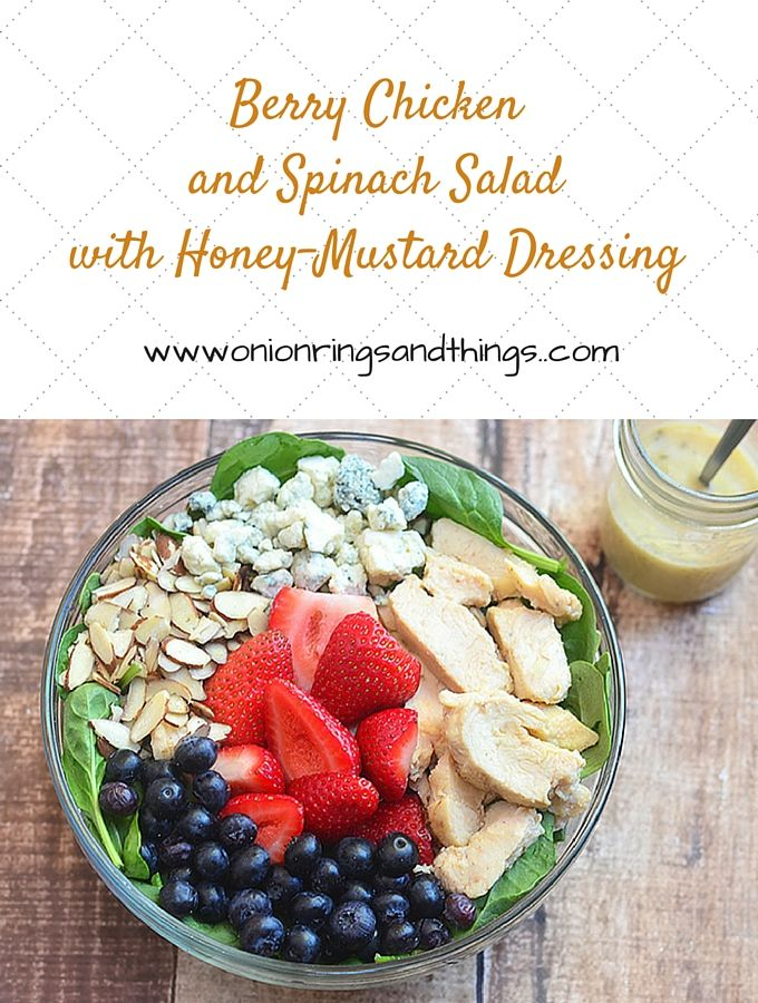 Berry Chicken and Spinach Salad with Honey Mustard is satisfying summer salad chock-full of verdant spinach leaves, moist chicken, juicy berries, crunchy almonds, pungent blue cheese, and a sweet and tangy dressing