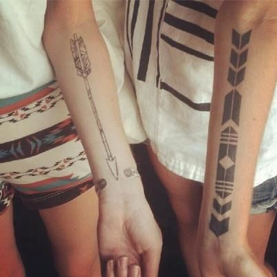 The arrow tattoo... Plus 74 Matching Tattoo Ideas To Share With Someone