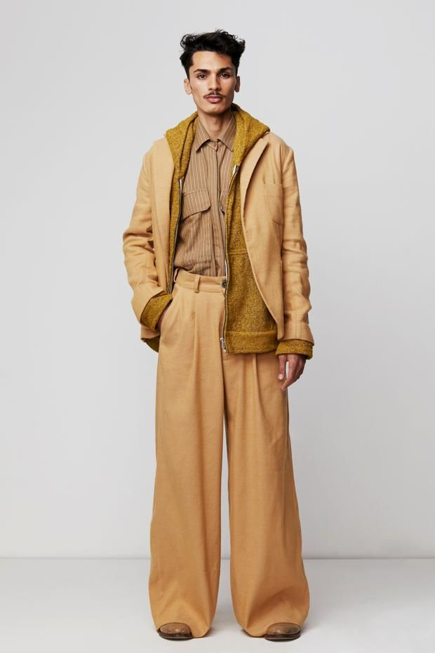 d5c592123911af Introducing our Wide Leg Pleated Trouser handwoven in Camel cotton. This  trouser is worn high waisted, has a pleated front, zip fly closure, belt  loops and ...