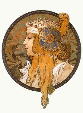 Nouveau Byzantine Blonde by Alphonse Mucha Fine Art Print
