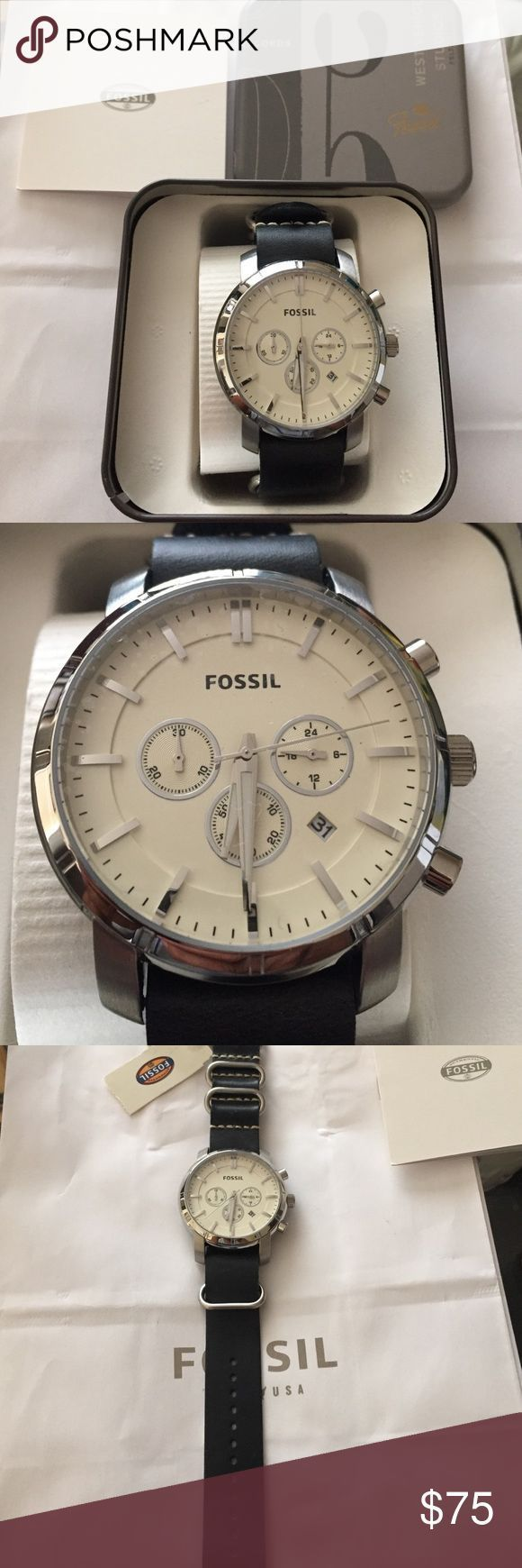 FOSSIL MENS  Watch Brand-new in box fossil men's watch Black bracelet silver and white watch. Fossil Accessories Watches - sale mens watches, mens gold watches for sale, mens white watches #menswatchesminimalist