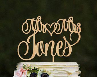 Last name wedding cake topper custom, Mr and Mrs Jones cake topper, Unique cake toppers for weddings, Wooden heart cake topper, Gold topper