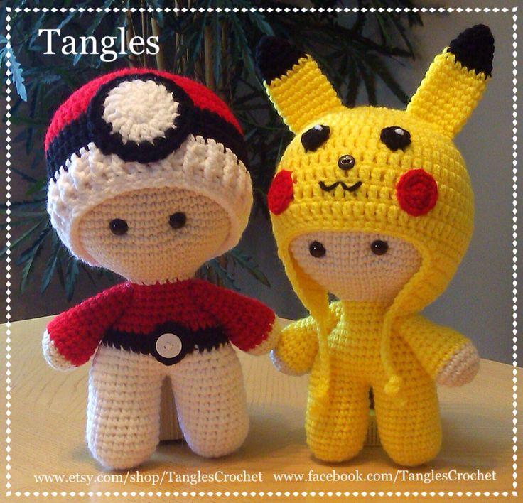 CROCHET - BIG HEAD DOLL - BABYDOLL YO-YO - POKEMON - Pokeball and Pikachu Big Head Baby Dolls / TANGLES