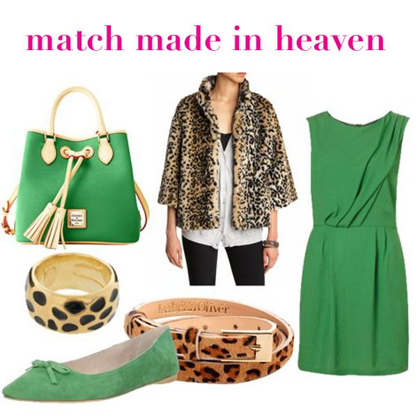 green & leopard - a match made in heaven! Loooove the green bag!