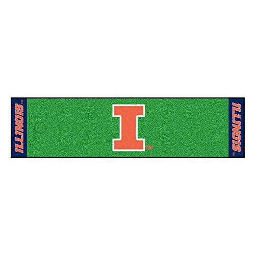FANMATS NCAA University of Illinois Fighting Illini Nylon Face Putting Green Mat  https://allstarsportsfan.com/product/fanmats-ncaa-university-of-illinois-fighting-illini-nylon-face-putting-green-mat/  Realistic putting surface (11 on golf stimpmeter) Includes putting target barrier/backstop Durable vinyl backing keeps mat in place