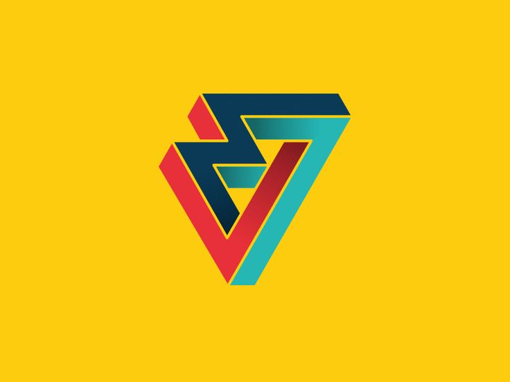 Multiples color variations of new Mille Volts agency logotype. Inspired by Penrose triangle and M.C. Escher works.