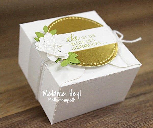 Stampin' UP! Envelope Punch Board Box, Envelope Punch Board Goodie, Lovely Laurel Thinlits Seasonal Layers Thinlits, Stiched Framelits, Gold Weeding Box, Goldhochzeit Box, Thinlits Lorbeerkranz, Thinlits Aus jeder Jahreszeit