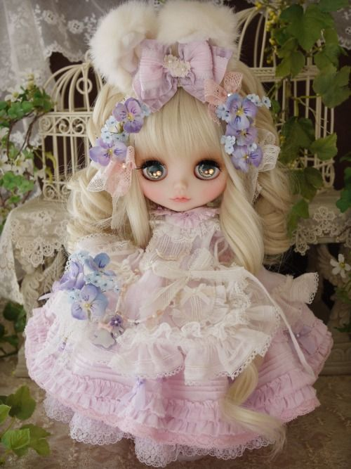 violet flower outfit by Milk Tea
