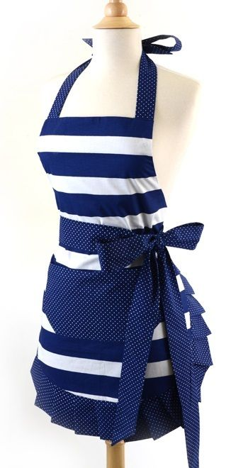 Retro Aprons ~ Nautical Navy Retro Vintage Apron ... #wedding wishlist #bridal shower