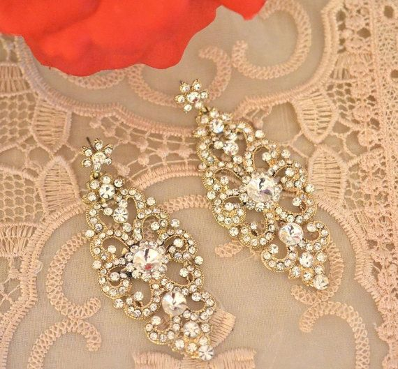 Chandelier Earrin Gold Tone Style Crystal by BeautifulByBetter