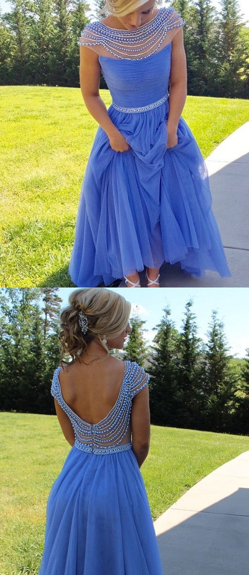 2017 blue long prom dress homecoming dress, Gorgeous A-line Long Light Blue Beads Cap Sleeves Prom Dress