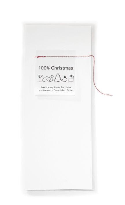 100% Christmas Weihnachtskarte mit Waschzettel