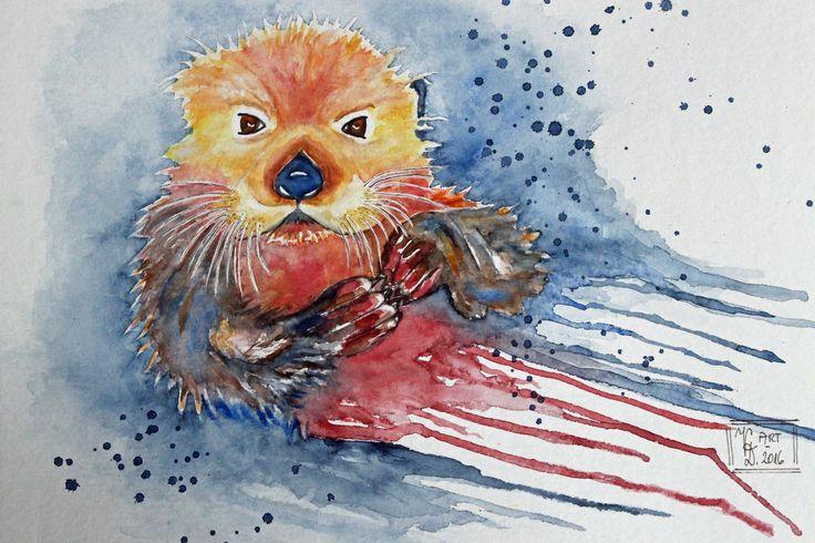 Max der kleine Otter, Aquarell