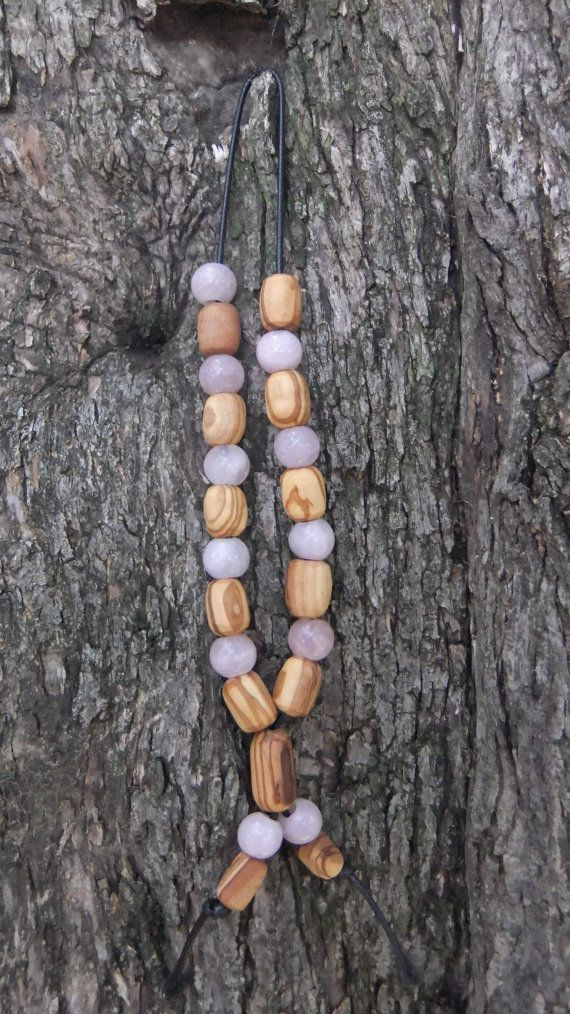 Olive Wood Worry Beads or Komboloi with Rose by ellenisworkshop