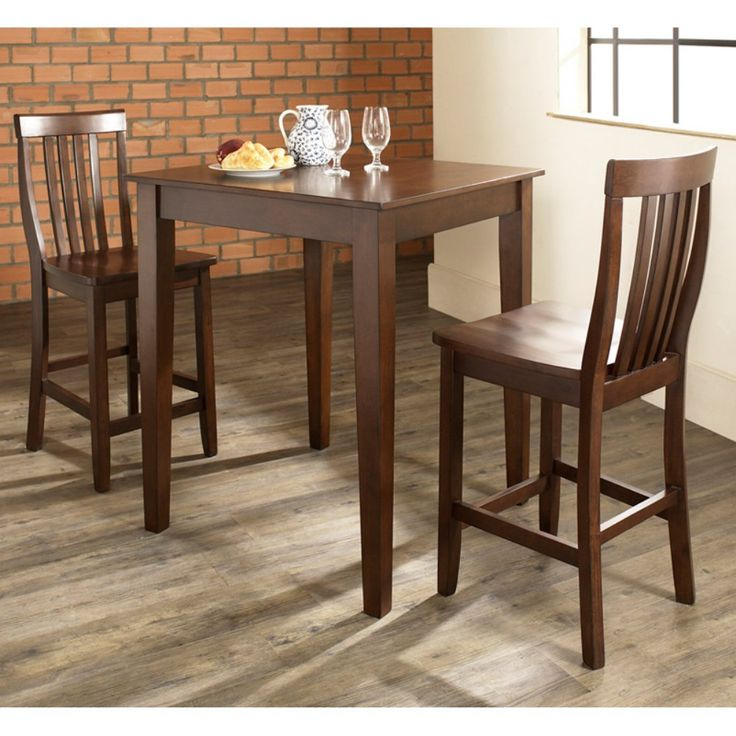 Crosley 3-Piece Pub Dining Set with Tapered Leg and School House Stools - The clean, simple lines seen in the 3-Piece Pub Dining Set with Tapered Leg and School House Stools allow this set to blend in with traditional or con...