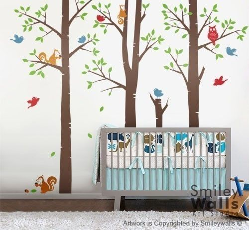 Forest Friends Trees Birds Squirrels and Owl  by smileywalls, $155.00
