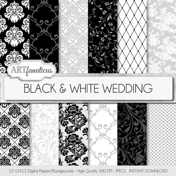 Damask, lace and floral patters of digital paper.  Perfect to use with favors, invitations, seating cards, etc. BLACK & WHITE WEDDING  by Artfanaticus, $4.90