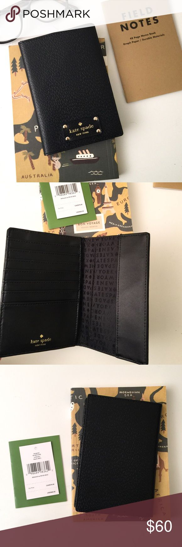 HP  Kate Spade Passport Case + Wallet We adore the whimsical yet functional style of so many Kate Spade items and this passport case is no exception.   Details: NWT. The lightweight design features multiple slots for credit cards + passport case. Additionally, it is made with custom gold hardware and genuine leather in a true black shade.   Kate Harrington Boutique does not trade or negotiate price in the comment section. However, we may consider reasonable offers.   Happy Poshing! kate…
