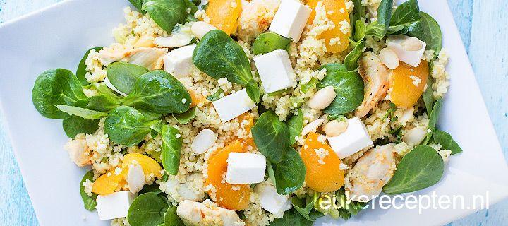 Couscous salade met kip en abrikozen - http://www.leukerecepten.nl/recepten/979-couscous-met-kip