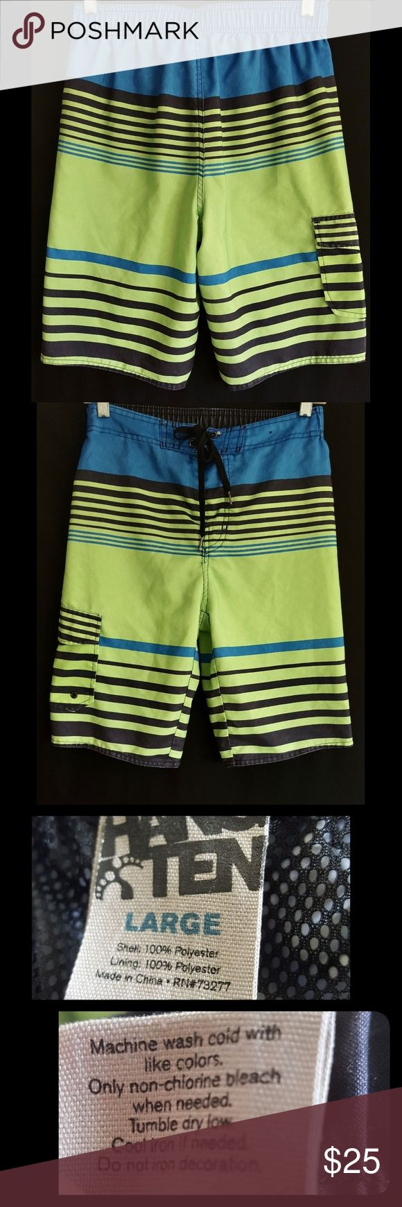Hang Ten men's swim trunks board shorts Surfer L Hang Ten men's swim trunks, board surface shorts. Striped blue and green. Mesh lined. Size tank States large. Please see measurements as these seem a little small to me. Waist laying flat is 13.5 inches unstretched. Rise 12.5 inches. Inseam 30.5 inches gently used condition with no flaws. Hang Ten Swim