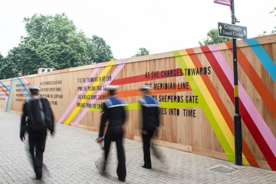 Hoarding for the Movement Café in Greenwich by Studio Myersough. Extremely vibrant and eye catching it definitely draws your gaze, and the use of typography for the poetry along the hoarding is good as it is a large readable size and is broken up into small chunks, so it's ab;e to be read as you go passed. However, if you're coming from the opposite side of the street, the poem would be backwards and amy not make sense.