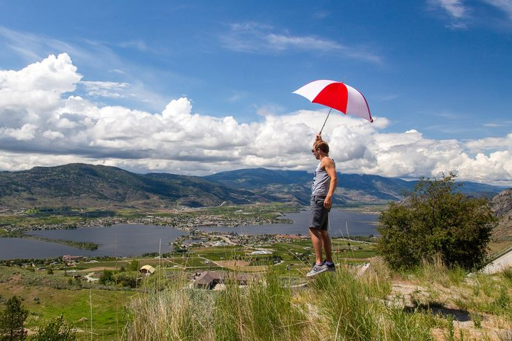 Using the power of my umbrella to float over Osoyoos in the Southern Okanogan!