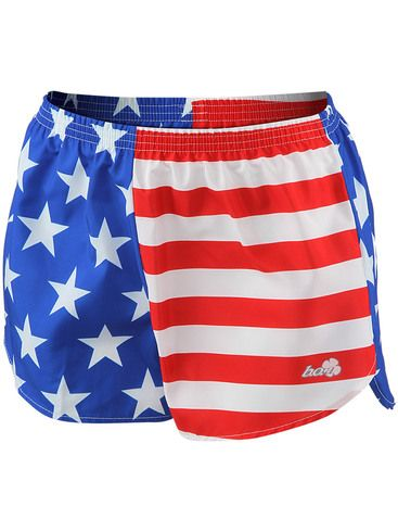 BOA Women's Printed Racer Lo-Rise Run Short US Flag // these colors do not run