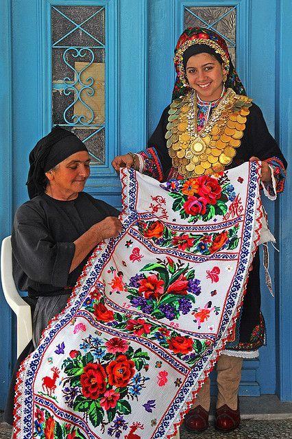 "Greece | ""Proud of their traditional handcraft"" Karpathos women. | ©Patricia Fenn"